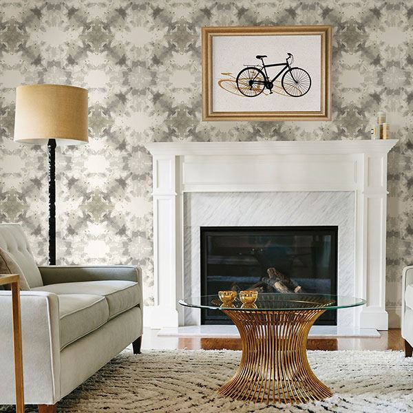 Mysterious Abstract Wallpaper in Taupe from the Moonlight Collection by Brewster Home Fashions