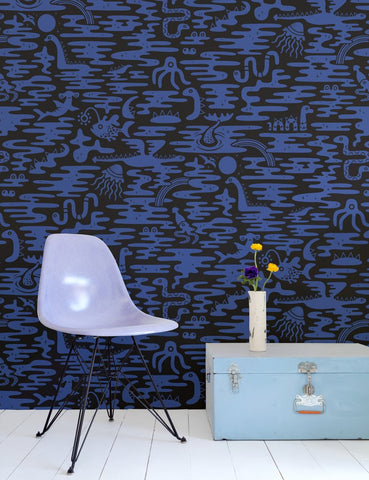 Mystic Lagoon Wallpaper in Aster design by Aimee Wilder