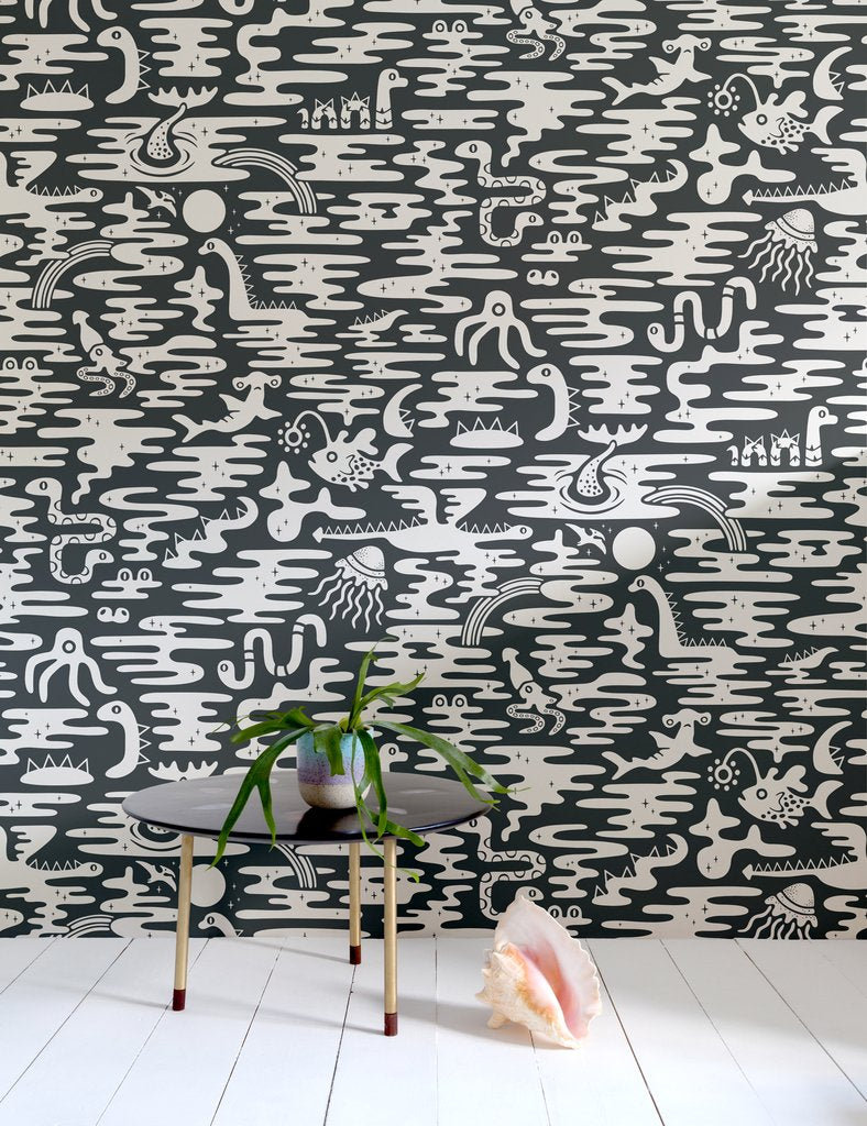 Mystic Lagoon Wallpaper in Chalk design by Aimee Wilder