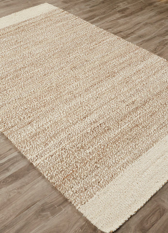 Mallow Natural Bordered White & Tan Area Rug