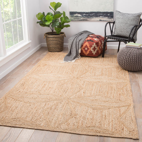 Abel Natural Geometric Beige Area Rug design by Jaipur