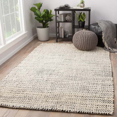 Almand Natural Solid White & Black Area Rug design by Jaipur