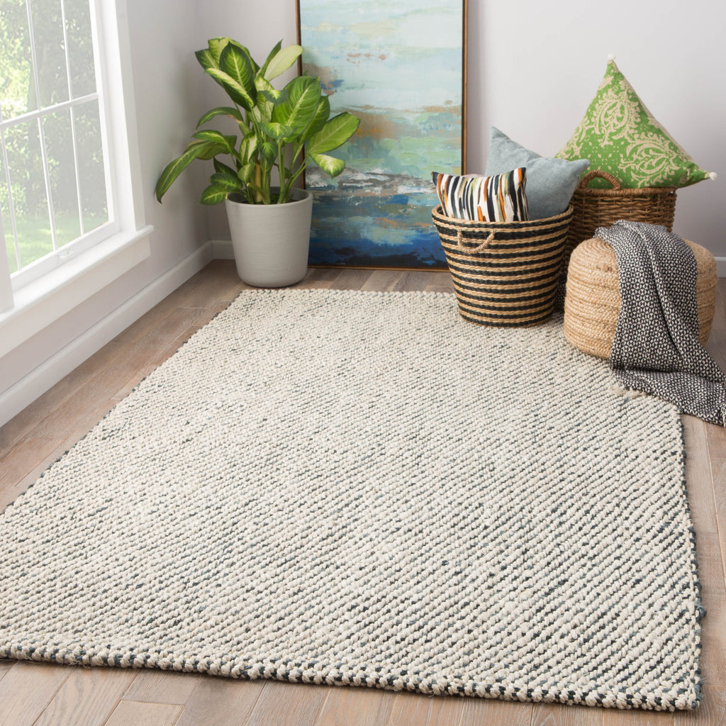 Almand Natural Solid White & Gray Area Rug