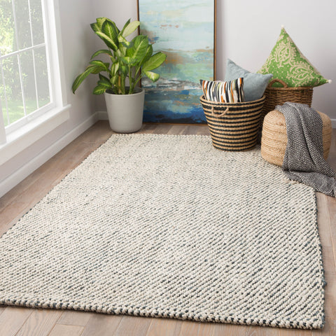 Almand Natural Solid White & Gray Area Rug design by Jaipur