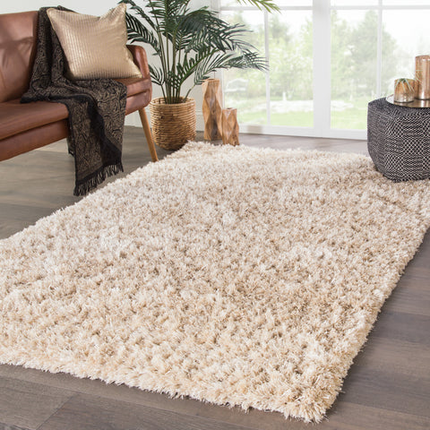 Nadia Solid Rug in White Swan & Whitecap Gray design by Jaipur