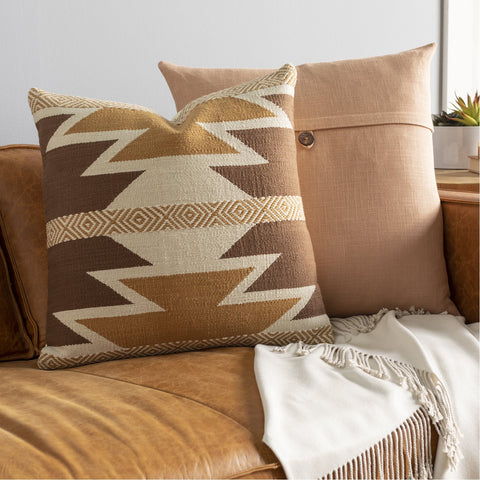 Andrea NDR-001 Hand Woven Square Pillow in Dark Brown & Camel by Surya