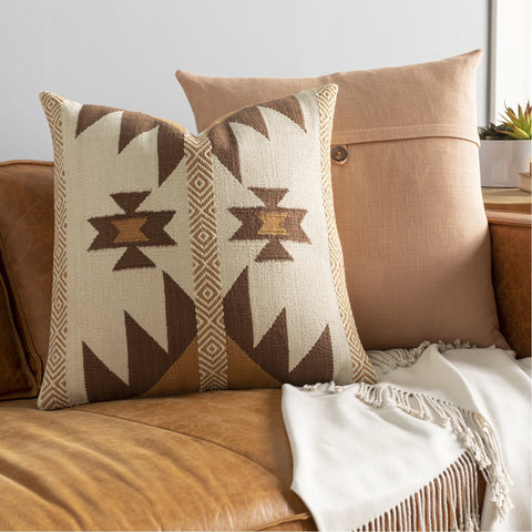 Andrea NDR-002 Hand Woven Square Pillow in Cream & Dark Brown by Surya