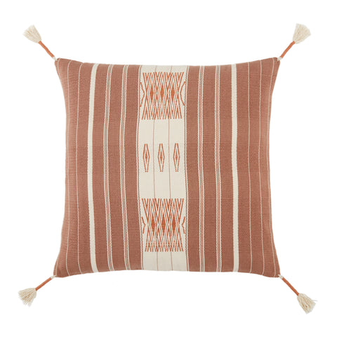 Lipila Hand-Loomed Tribal Pillow in Mauve & Cream