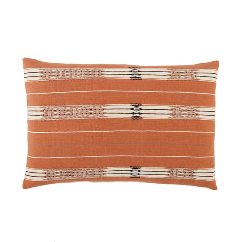 Phek Hand-Loomed Tribal Pillow in Terracotta & Cream