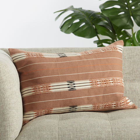 Phek Hand-Loomed Tribal Pillow in Mauve & Cream