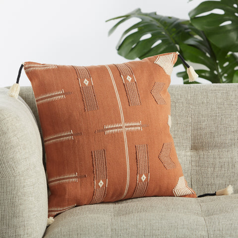 Longwa Hand-Loomed Tribal Pillow in Terracotta & Cream