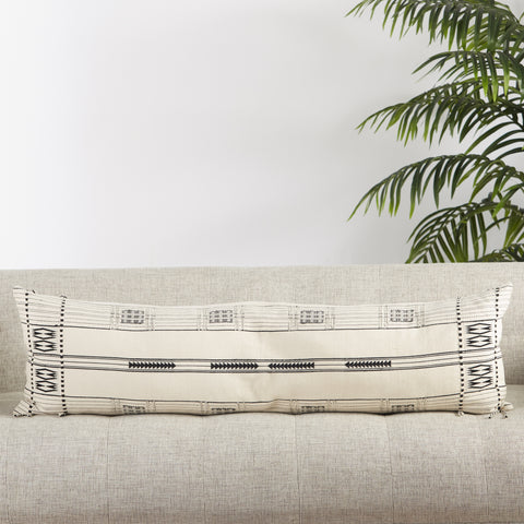 Zeliang Hand-Loomed Tribal Pillow in Cream & Black