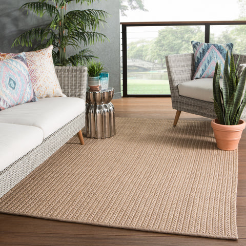 Iver Indoor/ Outdoor Solid Tan Rug by Jaipur Living