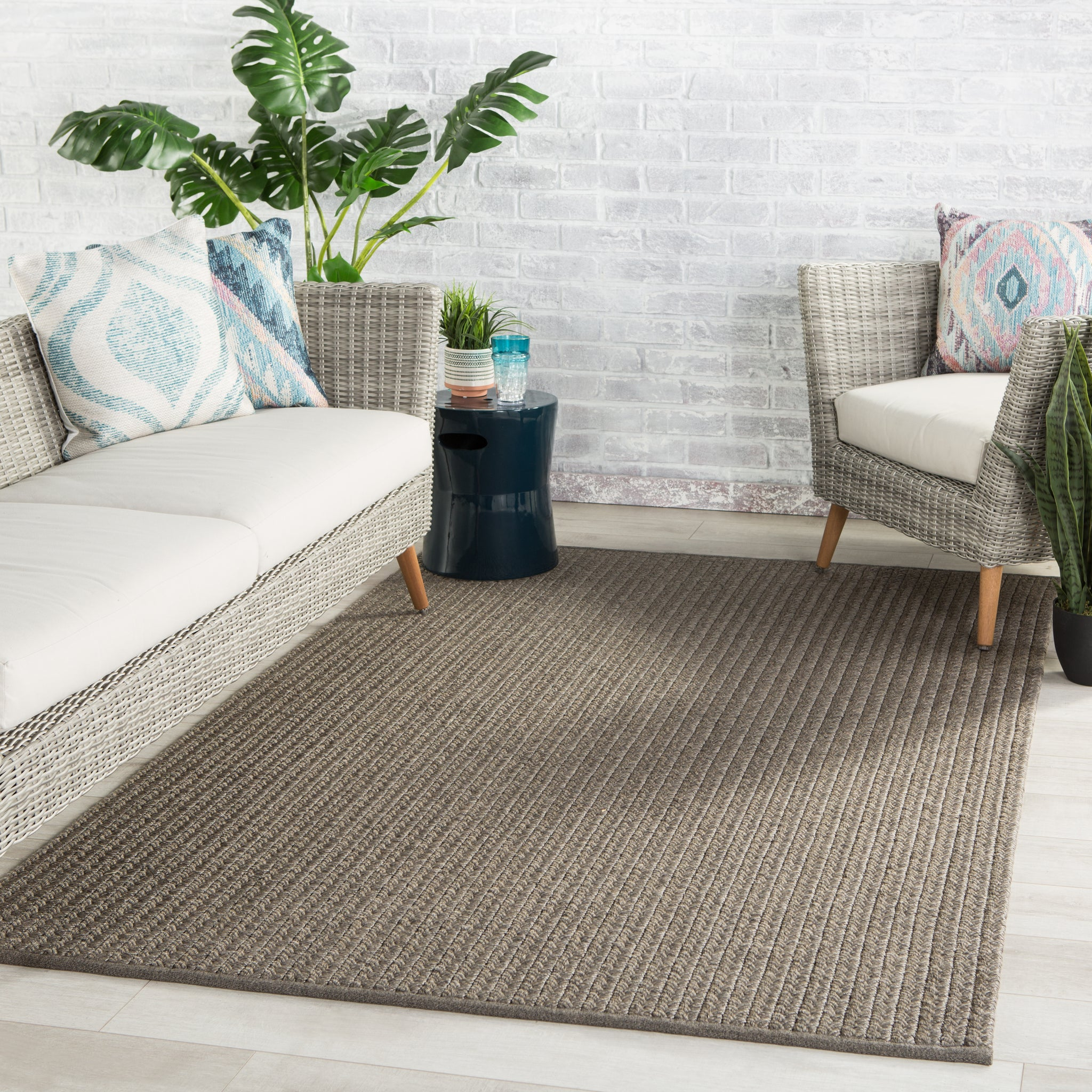 Iver Indoor Outdoor Solid Gray Taupe Rug Burke Decor