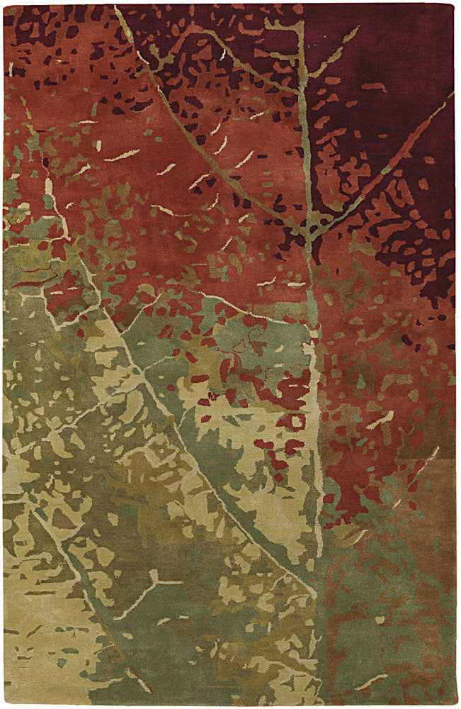nirvana collection handtufted area rug in green red u0026 brown design by chandra rugs