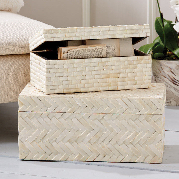 Set of 2 Basketweave Bone Boxes design by Tozai