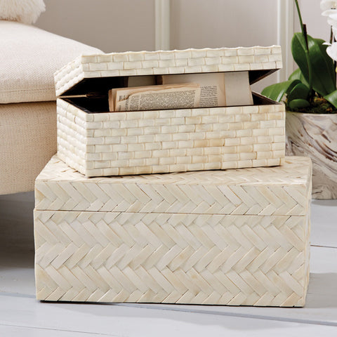 Set of 2 Basketweave Bone Boxes