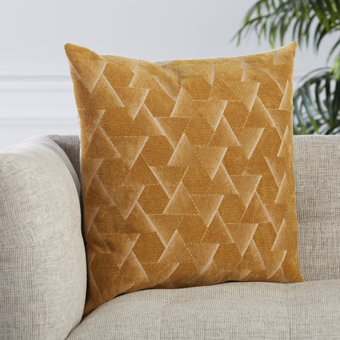 Jacques Geometric Pillow in Gold by Jaipur Living