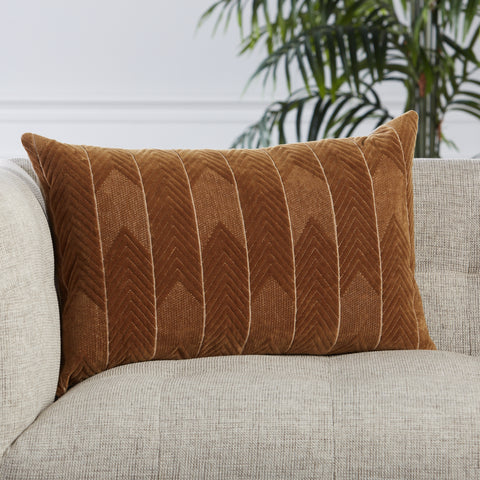 Bourdelle Chevron Pillow in Brown by Jaipur Living