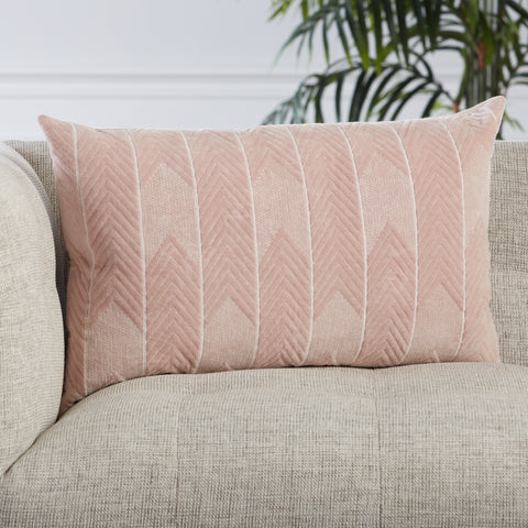 Bourdelle Chevron Pillow in Blush by Jaipur Living