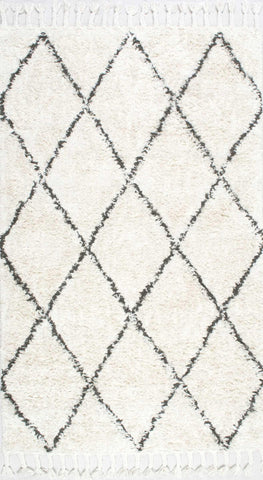 Moroccan 100% Wool Area Rug with Tassle in Natural design by NuLoom