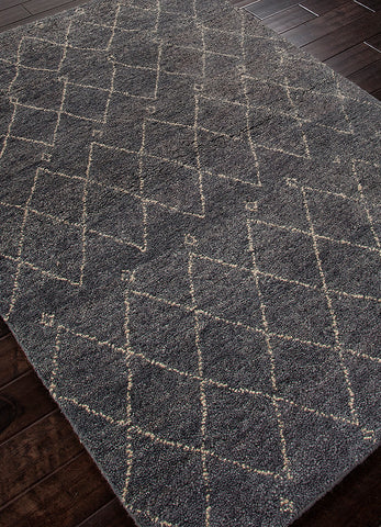 Casablanca Hand-Knotted Trellis Gray & White Area Rug