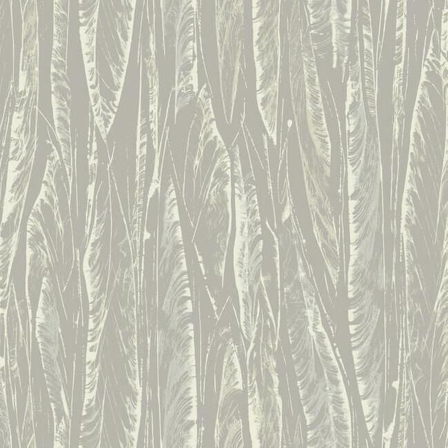 Native Leaves Wallpaper in Grey by Antonina Vella for York Wallcoverings