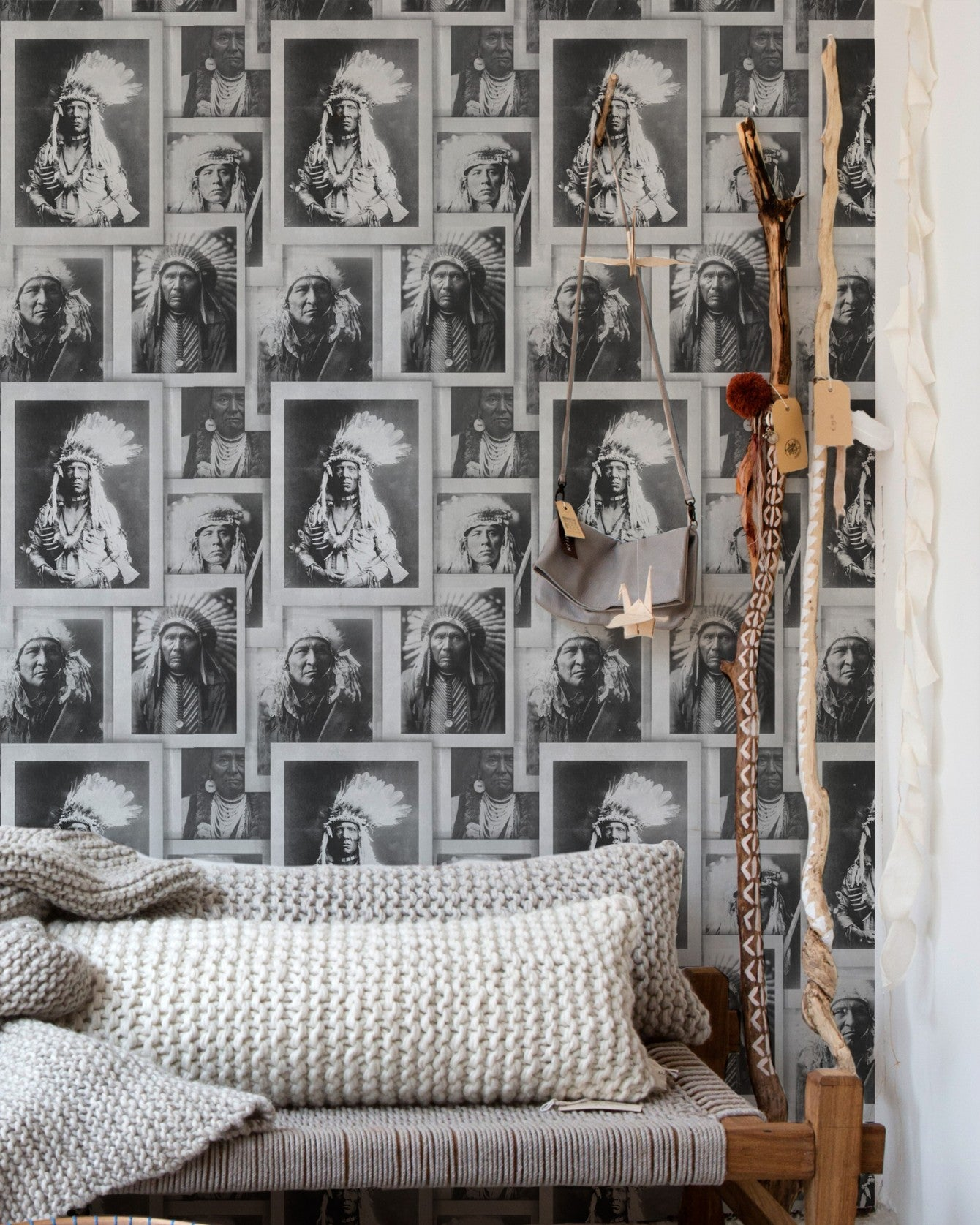 Native American Chiefs Wallpaper In Black And Grey From The