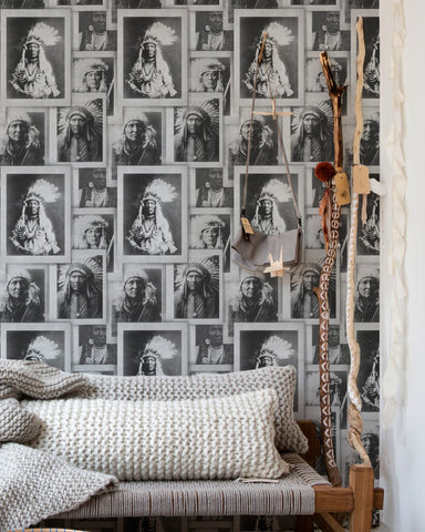 Native American Chiefs Wallpaper in Black and Grey from the Eclectic Collection by Mind the Gap