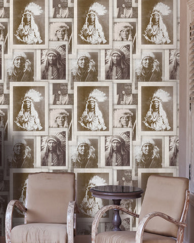 Native American Chiefs Wallpaper in Sepia and Taupe from the Eclectic Collection by Mind the Gap