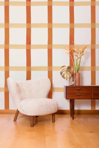 Natural Gifts Wallpaper in Terra Cotta, Blush, and White by Juju