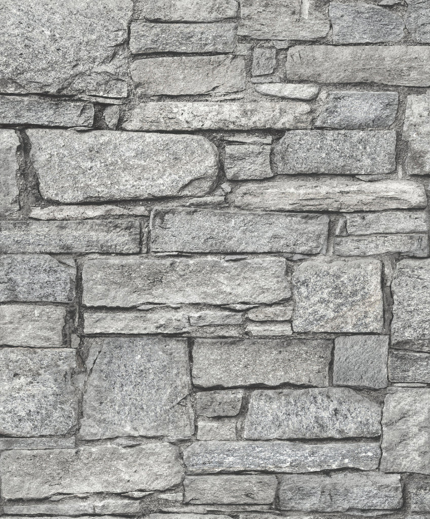 Natural Grey Classic Stone Wall Wallpaper by Walls Republic