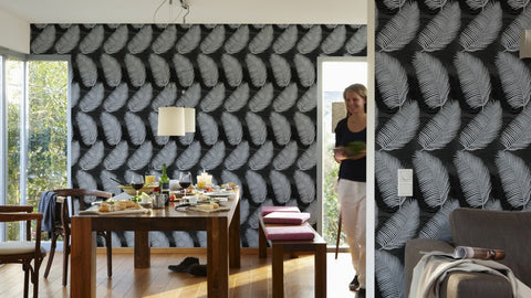 Natural Floral Wallpaper in Black and Metallic design by BD Wall