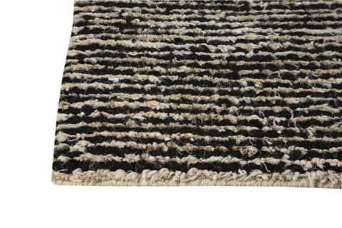 Nature Collection Hand Woven Wool and Hemp Area Rug in Black and White design by Mat the Basics