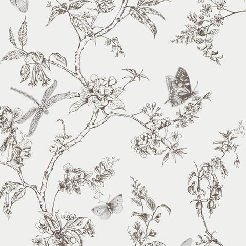 Nature Trail White Mica Wallpaper from the Modern Living Kitchen & Bath Collection by Graham & Brown