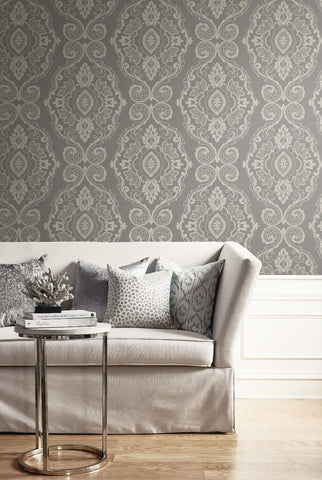 Nautical Damask Wallpaper from the Beach House Collection by Seabrook Wallcoverings