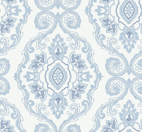 Nautical Damask Wallpaper in Coastal Blue from the Beach House Collection by Seabrook Wallcoverings