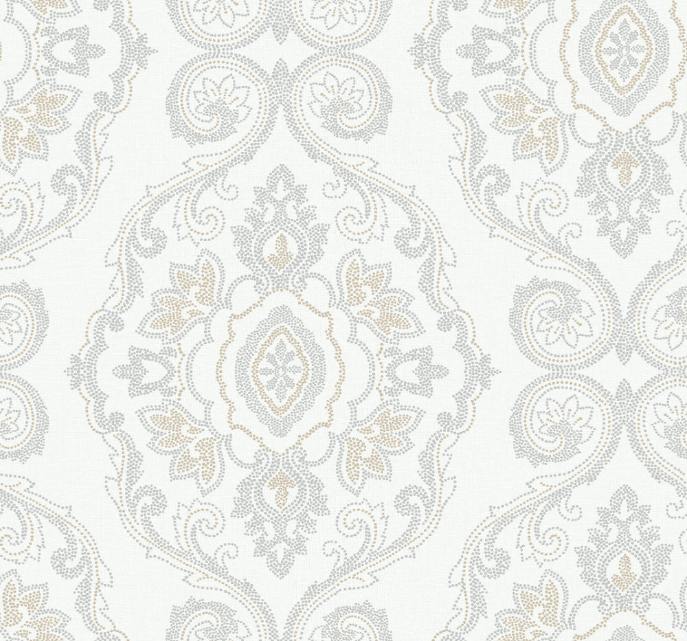 Sample Nautical Damask Wallpaper in Sand Dunes from the Beach House Collection by Seabrook Wallcoverings