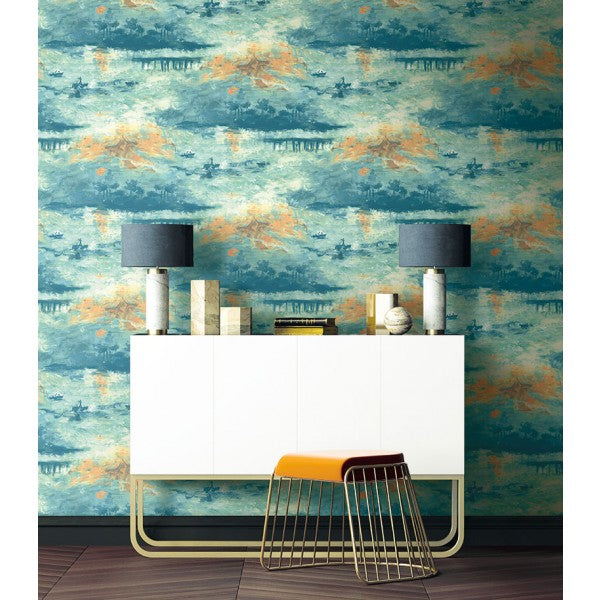 Nautical Sunset Wallpaper from the French Impressionist Collection by Seabrook Wallcoverings