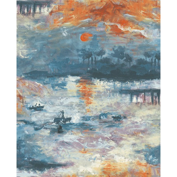 Nautical Sunset Wallpaper in Blue and Orange from the French Impressionist Collection by Seabrook Wallcoverings