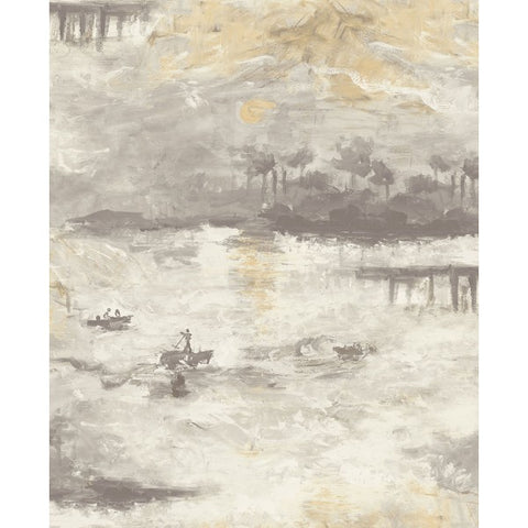 Nautical Sunset Wallpaper in Grey and Neutrals from the French Impressionist Collection by Seabrook Wallcoverings