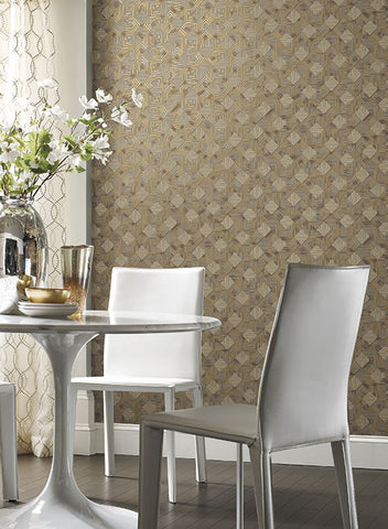 Navajo Wallpaper in Gold and Grey by Antonina Vella for York Wallcoverings