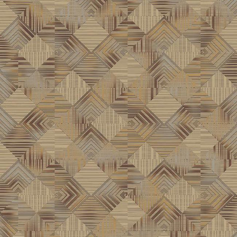 Navajo Wallpaper in Metallic, Grey, and Neutrals by Antonina Vella for York Wallcoverings