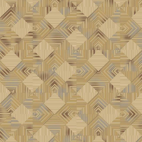 Navajo Wallpaper in Metallic and Beige by Antonina Vella for York Wallcoverings