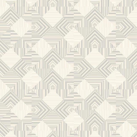 Navajo Wallpaper in Silver and Ivory by Antonina Vella for York Wallcoverings