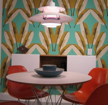 Navajo Wallpaper in Turquoise design by Cavern Home