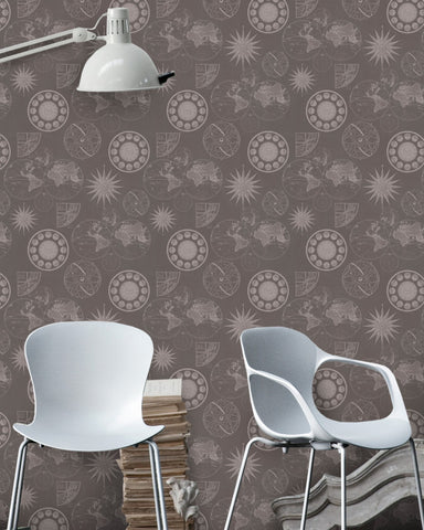 Navigation Wallpaper in Brown from the Eclectic Collection by Mind the Gap