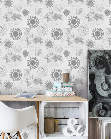 Navigation Wallpaper in Neutral from the Eclectic Collection by Mind the Gap
