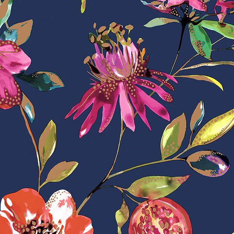 Sample Navy Bright Blossoms Wallpaper by Walls Republic