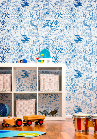 Navy Boutique Wallpaper in Blue Boy by Milton & King
